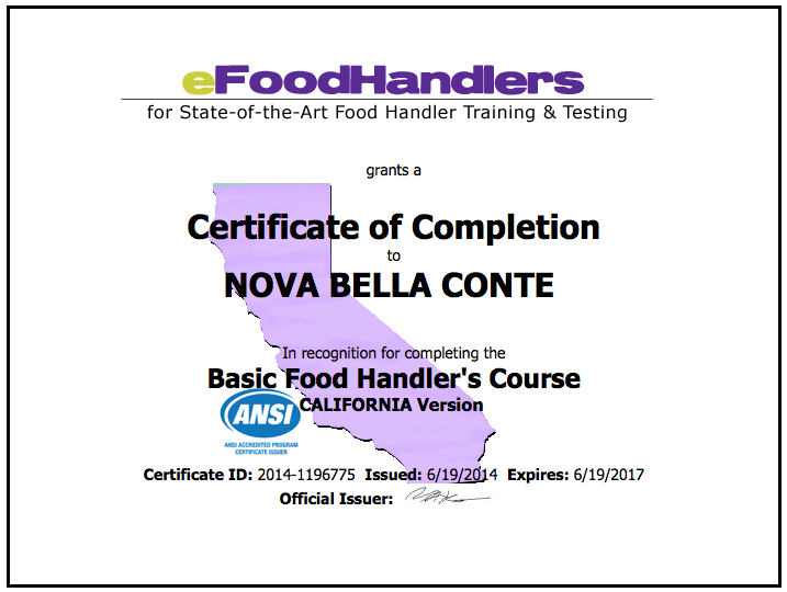 california food handler certificate | food